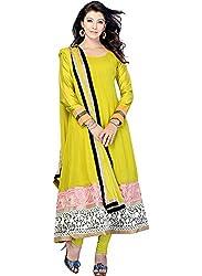 Kashish Lifestyle Women's Bamber Foliage Suit ( SFPRIYAM503-Yellow Green-Free Size)