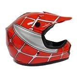 Youth Red Spider Net Motocross MX Dirt Bike ATV Off-Road Helmet DOT (Medium)