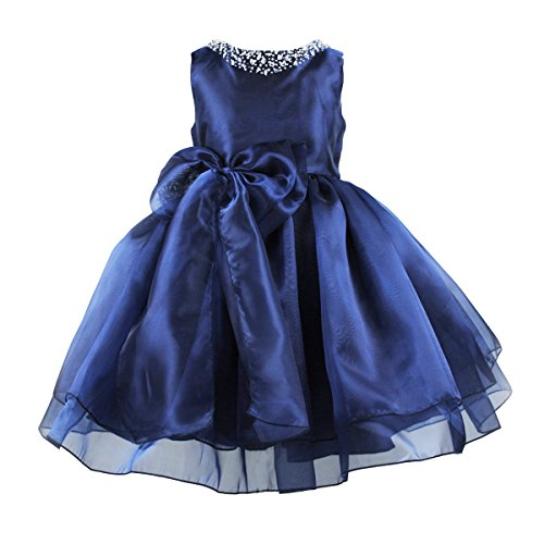 Flower Girls Dress Satin Organza Wedding Party Ball Gown Bowknot Tulle Dresses,Navy Blue,size 8