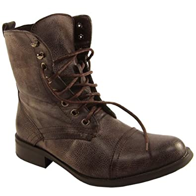 Womens brown military boots amazon co uk shoes amp bags