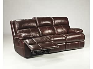 "Amazon.com: Ashley Lensar U9900188 87"" Reclining Leather Sofa with"