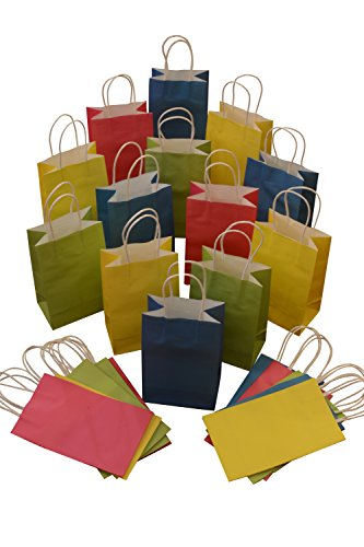 assorted kraft gift bags solid colors small bulk set of 24 bags arts party celebration giving wrapping