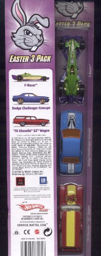 Hot Wheels * Limited Easter 3 Pack ** 70 Chevelle Wagon * Dodge Challenger Concept * F Racer