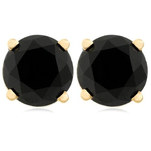 Black Diamond Stud Earrings with 14k Yellow Gold