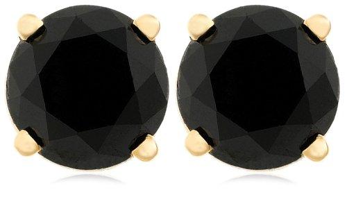 14k Yellow Gold Black Diamond Stud Earrings (2 cttw)