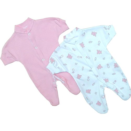 Premature Early Baby Clothes Pack of 2 Sleepsuits