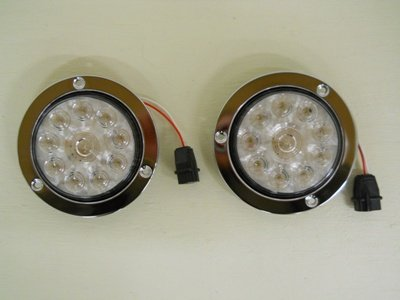 "4"" Round 10 Led Clear White Reverse Light Kits / Stainless Steel Flange Mount"
