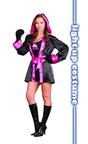 [Dreamgirl Women's Down And Dirty Boxing Costume Black/Pink Medium] (Womens Boxing Costumes)