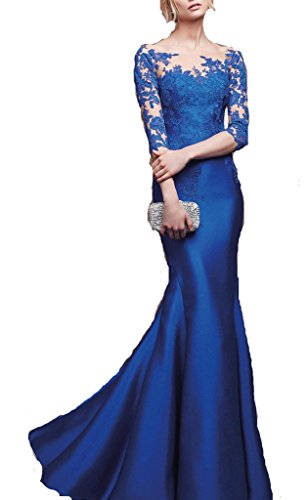Yudear-Womens-Bateau-34-Long-Sleeves-Mermaid-Buttons-Evening-Celebrity-Gowns