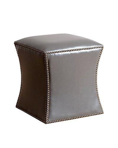 Abbyson Living Elliot Leather Nailhead Trim Ottoman, Grey