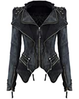 Women Sharp Power Studded Shoulder Notched Lapel Denim Jeans Coat Blazer Jacket