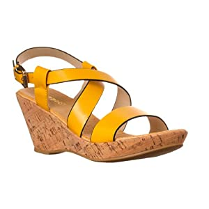 Riverberry Womens Conner Slingback Wedge Sandals, Yellow, Size 8