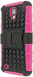MPERO Collection Tough Rugged Kickstand Black and Hot Pink Case for Samsung Galaxy S4 Active