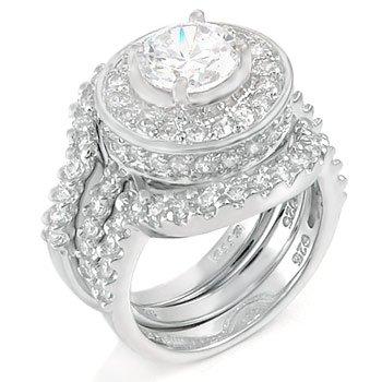 .925 Silver Round 2 Ct Cz Bridal Wedding Ring Set (9)