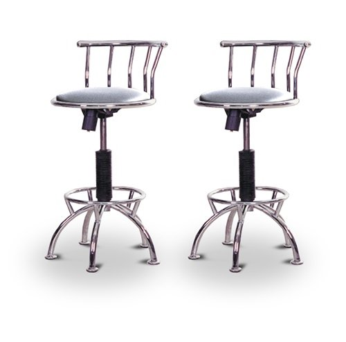 "2 24""-29"" Glitter Silver Seat Chrome Adjustable Specialty / Custom Barstools Set"