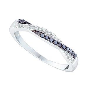 14K White Gold 1/4 ct. Black and White Diamond Ring