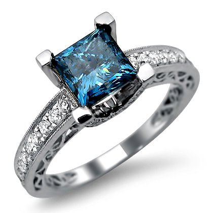 90ct Princess Cut Blue Diamond Engagement Ring 18k White Gold