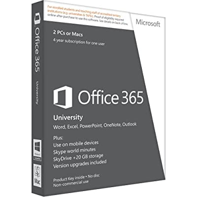 "Microsoft, Office 365 University Subscription License ( 4 Years ) 1 Mobile Device, 20 Gb Online Capacity, 2 Pcs/Macs Hosted Edu Win, Mac English Canada, United States ""Product Category: Software/Business Suite"""