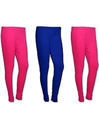 Indistar Women Cotton Legging Comfortable Stylish Churidar Full Length Women Leggings-Pink/Blue-Free Size-Pack...
