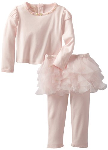 Best Biscotti Baby-Girls Infant Rolling In Ruffles Long Sleeve Top and Tutu Legging, Pink, 12 Months