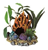 Blue Ribbon Pet Products Resin Ornament - Fire Coral Cave With Plants