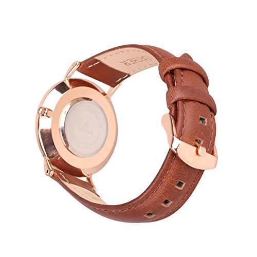 Aurora Women's Metal Retro Casual Round Dial Quartz Analog Wrist Watch with Brown Leather Band-Rose Gold 4