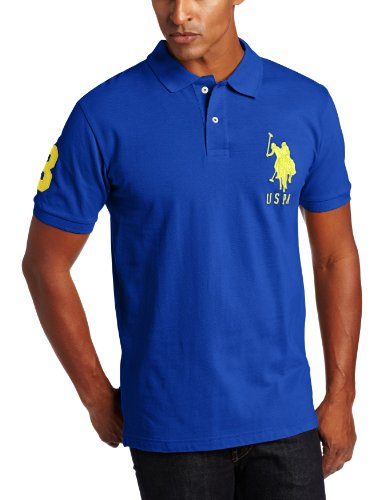 U.S. Polo Assn. Men's Solid Polo With Big Pony, Cobalt Blue, Medium