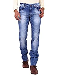 Kavis Mid Waist Dark Blue Colored Slim Fit Men's Jeans - B016WG2RM4