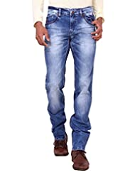Kavis Mid Waist Dark Blue Colored Slim Fit Men's Jeans - B016WG2NBO