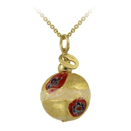 18k Gold Plated Sterling Silver Multi-Red Hand Blown Glass Round Drop Pendant Necklace, 18
