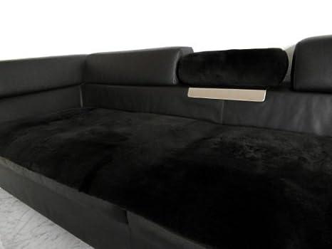 Echt Lammfell Couchauflage in dunkelbraun - Sofa Überwurf, auch fur Sessel