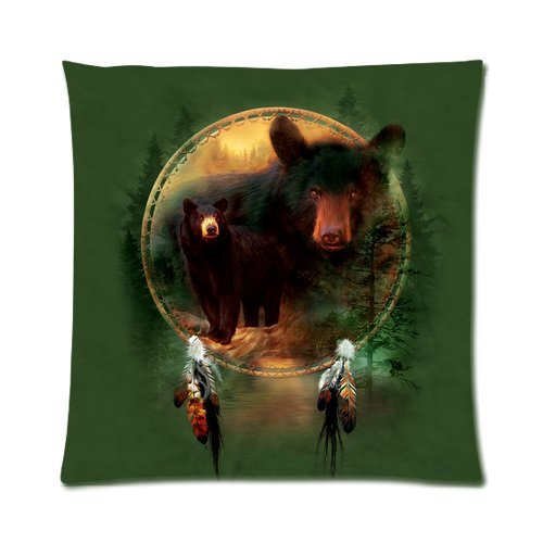 """Dream Catcher Grizzly Bear North American Brown Bear Custom Zippered Pillow Cushion Case Throw Pillow Covers 16""""X16""""(Two Sides) front-885185"""