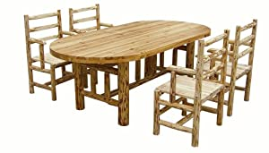 Rush Creek Log Cabin Style Dining Table and Four Chairs