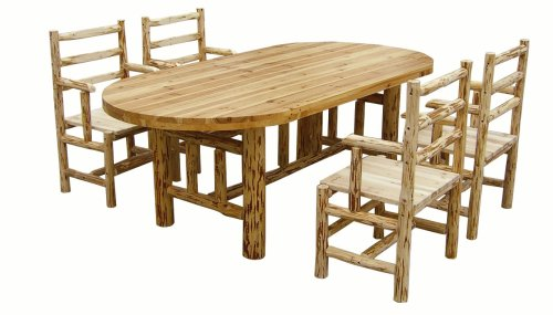 Rush Creek Log Cabin Dining Table w/ Four Chairs