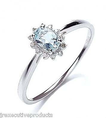White Gold Real Aquamarine Oval & Diamond Cluster Ring (size K - T available)