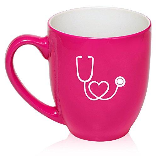 16 Oz Hot Pink Large Bistro Mug Ceramic Coffee Tea Glass Cup Heart Stethoscope Nurse Doctor
