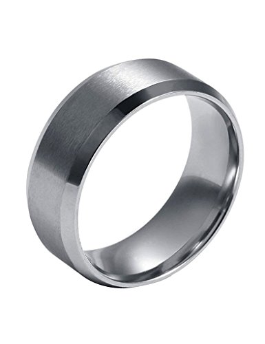 FANSING Mens 8mm Titanium Stainless Steel Ring Bands Standard US Size (Stainless Steel Mens Rings Size 8 compare prices)