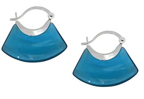 Unique Sterling Silver Teal Blue Glass Earrings For Women
