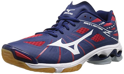 Mizuno Men's Wave Lightning Z NY-RD Volleyball Shoe, Navy/Red, 10.5 D US