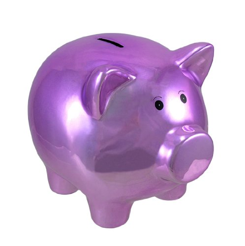 Metallic Purple Plated Ceramic Piggy Bank 8 In. - 1