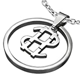 Stainless Steel Dollar Money Symbol Circle Pendant & Chain - Length 50cms