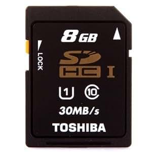 Toshiba 8Go SD SDHC Secure Digital Classe 10 30MB/s Carte Retail pour Caméra mobile phone Mp4 Speaker