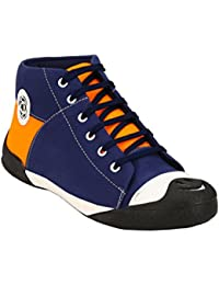 ZebX Comfortable Light Weight Blue And Orange Men Canvas Lace Up Casual Shoes