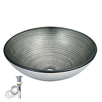 Round Tempered Glass Vessel Transparent Sink With Pop up and Mounting ring