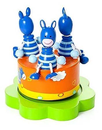 Boîte à musique enfants bébé garçons et filles - safari animal zèbre bleu