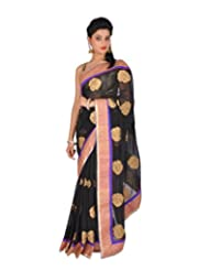 Ctc Mall Black Faux Georgette Saree With Kundan And Zari Work