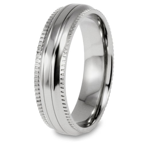 Millgrain Edge Domed Grooved Polished Titanium Ring (6mm) - Size 12.0