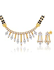 "MGold Valentine 18 Karat Gold Plated Cubic Zirconia ""Deepika"" Mangalsutra Earrings Set (PM19GJ)"
