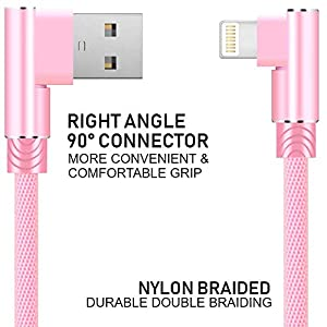 Boost Chargers 2 Pack 6 Feet Extra Long Nylon Braided Right Angle USB 90 Degree Fast Charging Transfer Data Cord Cable Travel Charger, Pink