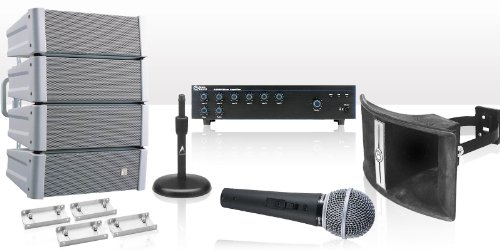 Stadium Sound System 240 Watts, 6 Input Mixer Amplifier, 60 Watt Paging Horns, Shure Microphone